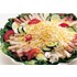 Chef Salad includes chopped lettuce, tomato, onions, sweet peppers, hot peppers, green olives, pickle cubes, cheese, condiments on the side, chose one type of meat or tuna or egg salad or chicken